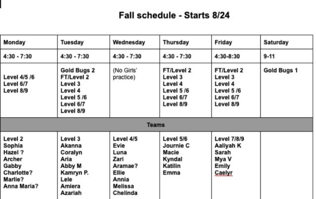 Fall2020GirlsTeamSchedule